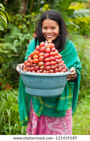South-east asian woman carrying a basket of red fruit