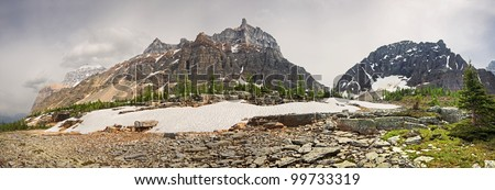 South end of Paradise Valley, Eiffel Mountain (center), Near Lake Louise, Banff National Park, Canada - stock photo