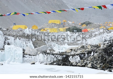 South Everest Base Camp in Himalayas,Nepal,one of the most popular trekking routes - stock photo