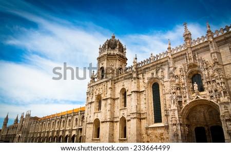 South facade of Hieronymites Monastery (Mosteiro dos Jeronimos) and Santa maria church in Belem, Lisbon, Portugal. UNESCO World Heritage Site. - stock photo