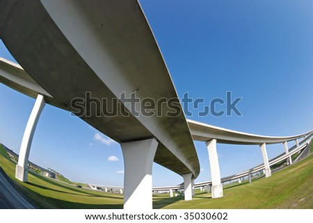 South Florida overhead expressway through fisheye lens.