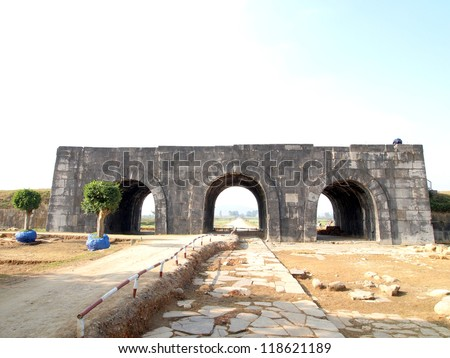 South Gate, Citadel of the Ho Dynasty in Thanh Hoa, Vietnam - a UNESCO World Heritage Site