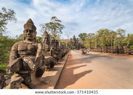 South gate of Angkor Thom, Siem Reap, Cambodia - stock photo