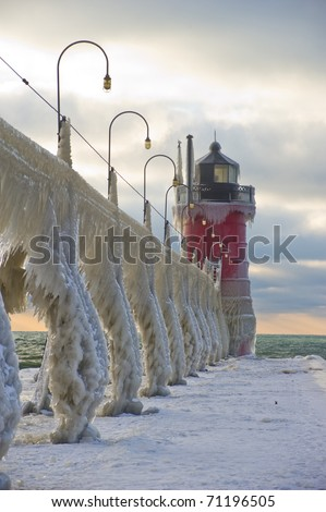 South Haven Lighthouse - stock photo