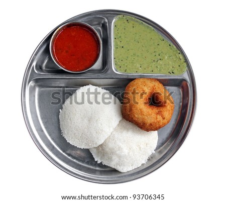 South indian breakfast - idly vada sambar and chutney - stock photo