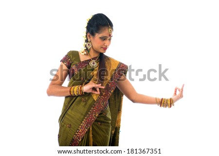 south indian female dancer isolated on white - stock photo