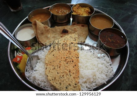South Indian foor vegetable thali - stock photo
