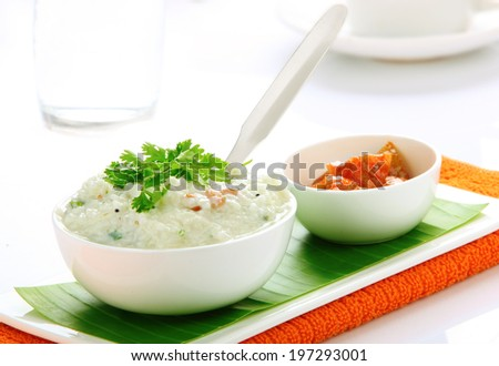 South Indian meal curd rice  (also called yogurt rice )with pickle,