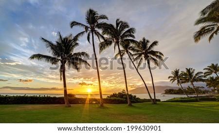 South Kihei sunset on the island of Maui, Hawaii - stock photo