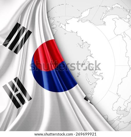 south korea flag and world map background - stock photo
