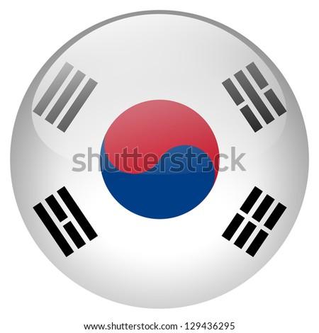 South Korea flag button - stock photo