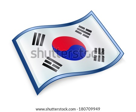 South Korea Flag Icon, isolated on white background. - stock photo