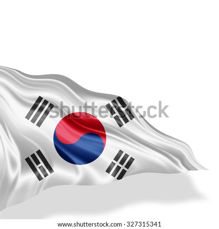 south korea  flag of silk with copyspace for your text or images and white background