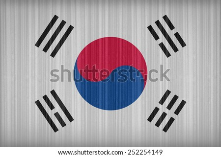 South Korea flag pattern on the fabric curtain,vintage style - stock photo
