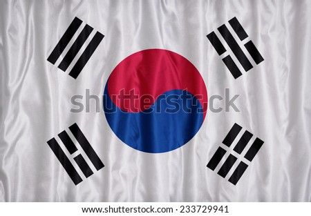 South Korea flag pattern on the fabric texture , vintage style - stock photo