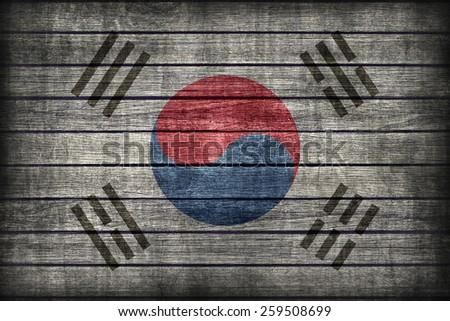 South Korea flag pattern on wooden board texture ,retro vintage style - stock photo