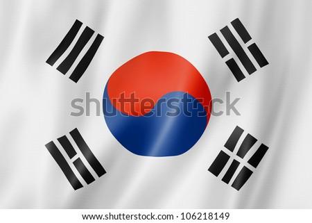 South Korea flag, three dimensional render, satin texture - stock photo