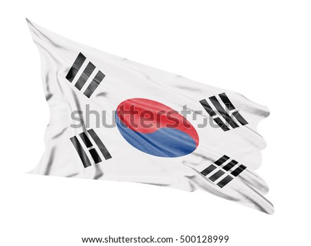South Korea flag waving  on white  background.