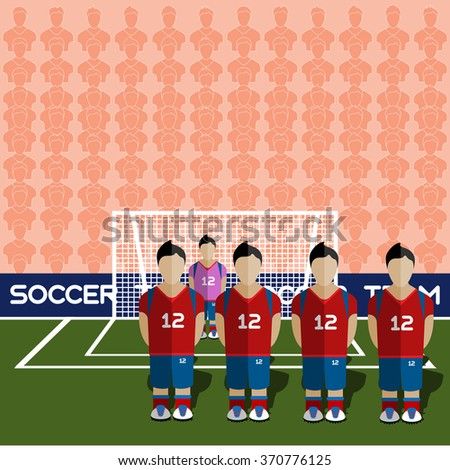 South Korea Football Club Soccer Players Silhouettes. Computer game Soccer team players big set. Sports infographic. Football Teams in Flat Style. Goalkeeper Standing in a Goal. Raster illustration. - stock photo