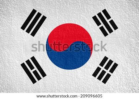 South Korea, korean flag on wall textured background  - stock photo