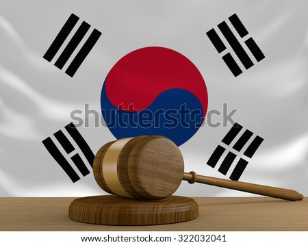 South Korea law and justice system with national flag - stock photo