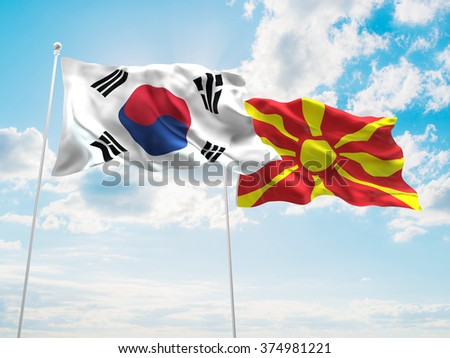 South Korea & Macedonia Flags are waving in the sky