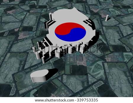 South Korea Map flag on Won illustration - stock photo