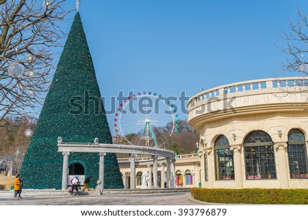 SOUTH KOREA - March 6: The Architecture and unidentified tourists are walking in Everland Resort, Yongin City, South Korea, on March 6, 2016