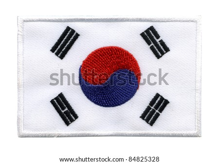 South Korea national flag, labels Textile fabrics, On white background - stock photo