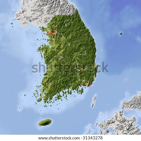 South Korea. Shaded relief map. Surrounding territory greyed out. Colored according to vegetation. Includes clip path for the state area. - stock photo