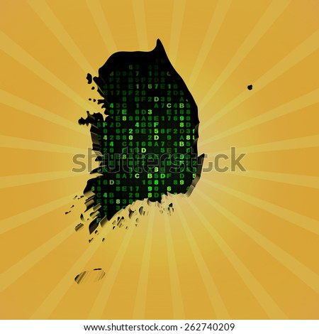South Korea sunburst map with hex code illustration - stock photo