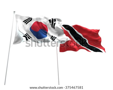 South Korea & Trinidad and Tobago Flags are waving on the isolated white background