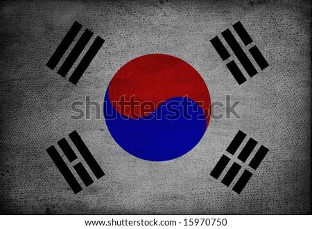 south korean flag on vintage paper - stock photo