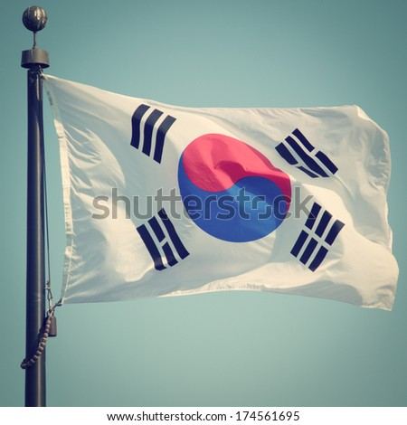 South Korean Flag with retro effect - stock photo