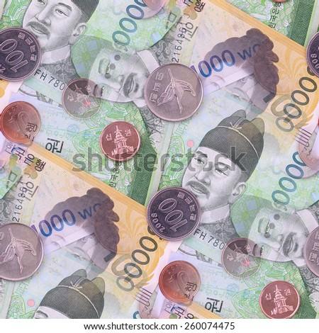 South Korean money seamless background design - stock photo