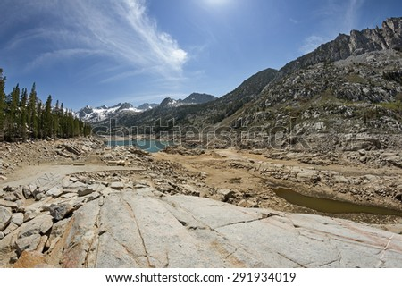 South Lake Reservoir with very low water level because of the California drought - stock photo