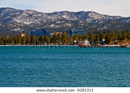 South Lake Tahoe in winter - stock photo