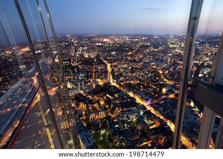 South London from The Shard, London, United Kingdom, UK, Europe - stock photo