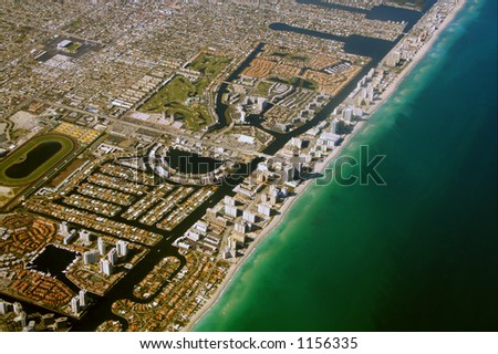 South Miami beach as seen from an airplane - stock photo