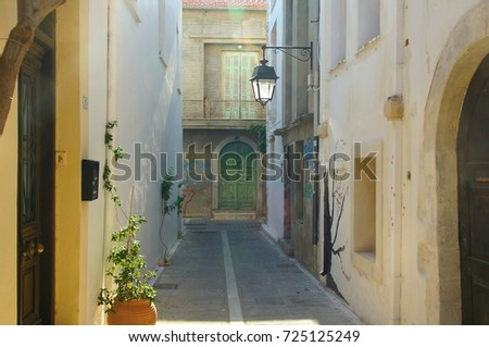 South morning in the narrow street of Rethymnon, Greece