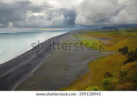 South of Iceland, black beach - stock photo