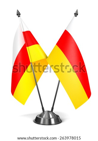 South Ossetia - Miniature Flags Isolated on White Background. - stock photo