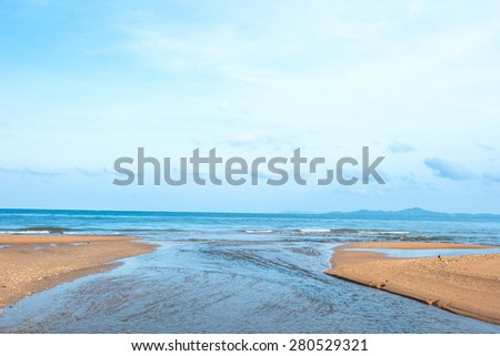 South Pattaya beach and Coconut, Chonburi, Thailand - stock photo