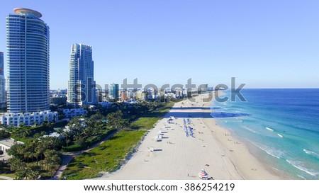 South Pointe, Miami. Aerial view of Miami Beach. - stock photo