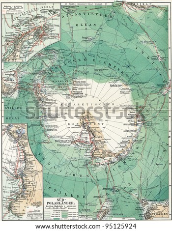 "South Pole. Map of the continent, oceans and seas, islands and the land around it. Publication of the book ""Meyers Konversations-Lexikon"", Volume 7, Leipzig, Germany, 1910"