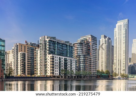 South Quay and Millharbour quarter east part of the Canary Wharf complex on the Isle of Dogs - stock photo