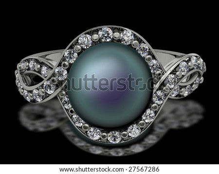 South Seas pearl ring on black - stock photo