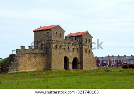 SOUTH SHIELDS - 15 JUNE : Arbeia Roman fort ruins at 15 June 2015 in South Shields, England. Arbeia was part of the Roman defence wall in Britain. - stock photo