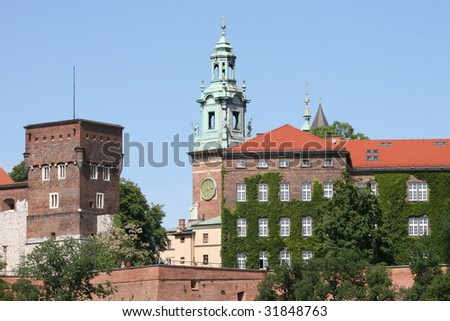 South side view, Wawel, Royal Castle in Krakow City, Poland