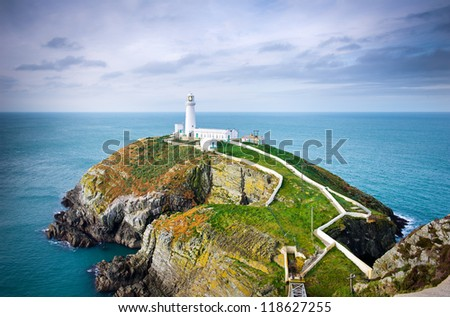 South Stack Lighthouse in Anglesey, Wales, UK, GB - stock photo